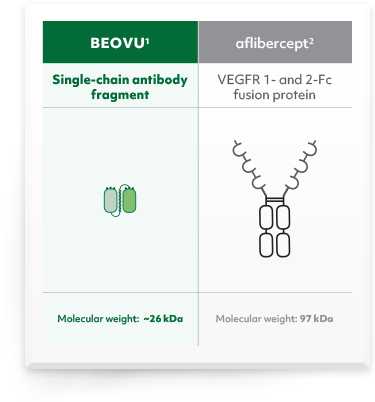 BEOVU single-chain antibody fragment. Aflibercept VEGFR 1- and 2-Fc fusion protein